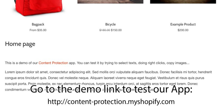 Content Protection [Shopify Plugin]