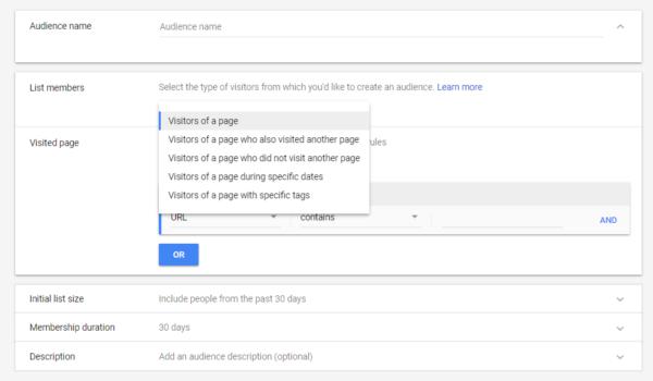Google Ads Remarketing List Option 1