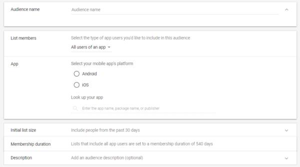 Google Ads Remarketing List Option 2