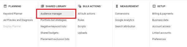 Google Ads Remarketing List Options