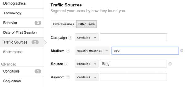 Google Analytics Remarketing Audience Option 2