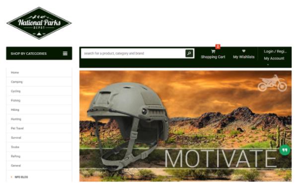 National Parks Depot — a major online store