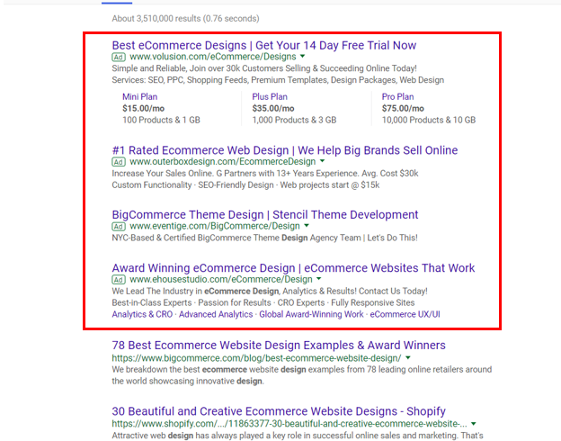 google ads search page ppc