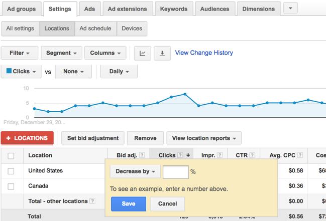 location column google ads