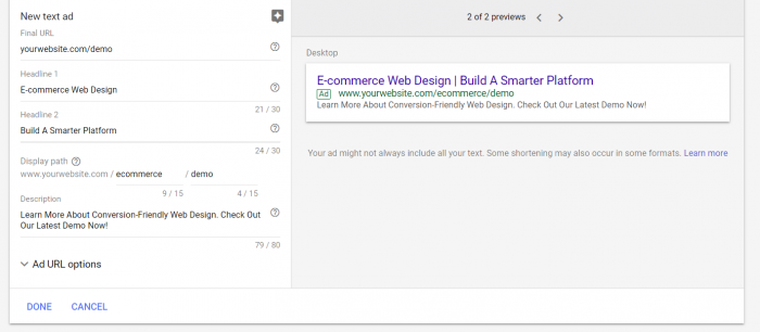 image of sample adwords