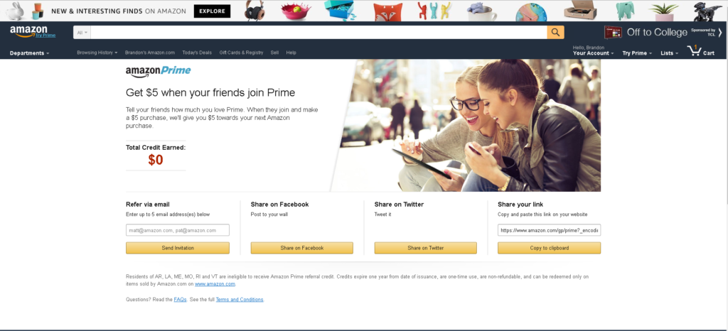 Amazon Prime – Referral Landing Page