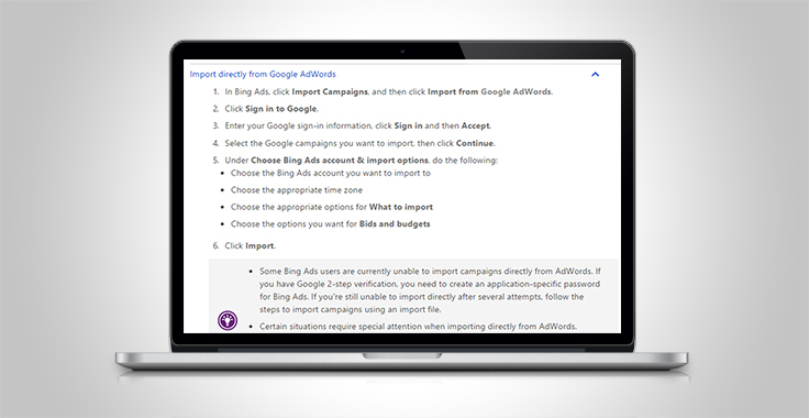 Use Google ad copy for Bing